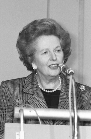 thatcher: London, England - July 1, 1991 - Margaret Thatcher, British Prime Minister, speaks at a conference