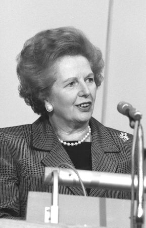 minister: London, England - July 1, 1991 - Margaret Thatcher, British Prime Minister, speaks at a conference