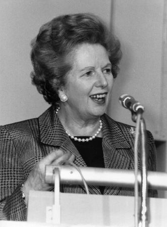 lords: London, England - July 1, 1991 - Margaret Thatcher, British Prime Minister, speaks at a conference