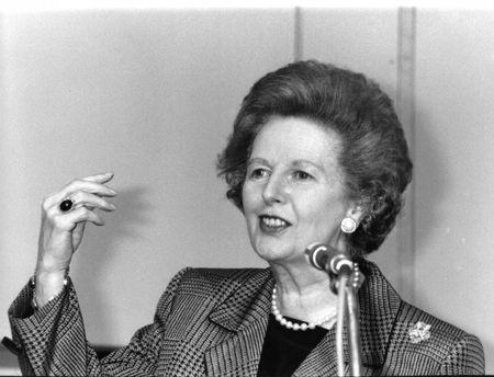 London, England - July 1, 1991 - Margaret Thatcher, British Prime Minister, speaks at a conference