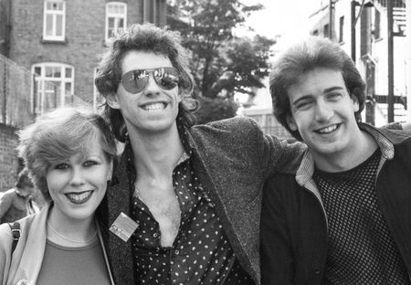 London, England - June, 5 1978 - Bob Geldof, Lead singer of Irish pop group The Boomtown Rats poses with two fans.