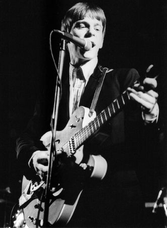 London, England - June 4, 1978 - Chris Wilson, guitarist with U.S. pop group The Flamin' Groovies performs live on stage. Stock Photo - 6890064