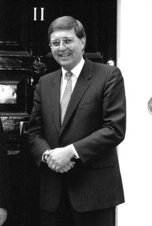 London, England - September 2, 1986 - Tom Hockin, Canadian Minister for Finance, visits 11 Downing Street. Stock Photo - 6890217
