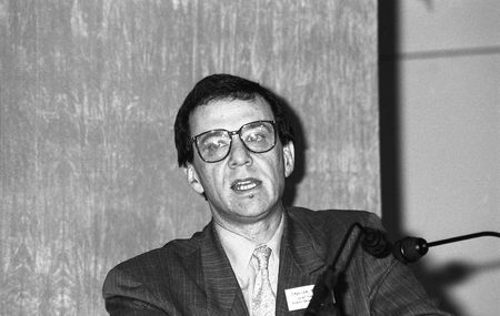 spencer: London, England - February 19, 1992 - Dr. Spencer Hagard, Chief Executive of the Health Education Authority, speaks at a press conference.