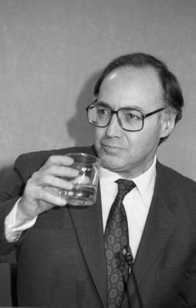 conservative: London, England - March 16, 1992 - Michael Howard, former Leader of the Conservative Party, holds a press conference.