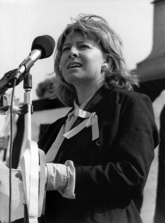 jill: London, England - April 13, 1991 - Jill Morrell, friend of Beirut hostage, journalist John McCarthy, speaks at a rally in his support.  Editorial