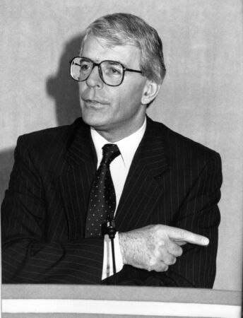 London, England - March 20, 1992 - John Major, British Prime Minister, holds a press conference Stock Photo - 6896848