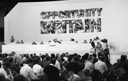 delegates: Brighton, England - October 1, 1991 - The platform and delegates at the party conference.