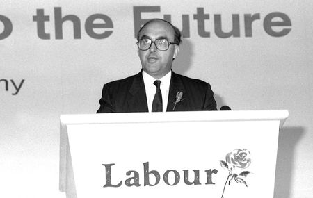 scottish parliament: London, England - May 24, 1990 - John Smith, Labour Party politician, speaks at a press conference.