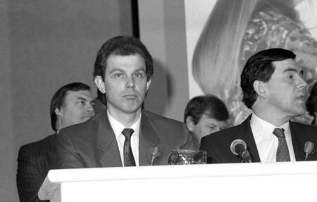 scottish parliament: London, England - May 24, 1990 - Tony Blair, former British Prime Minister & Gordon Brown, Prime Minister, sit together at a press conference.