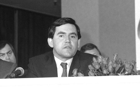 scottish parliament: London, England - May 24, 1990 - Gordon Brown, British Prime Minister, attends a press conference.