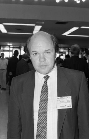 spokesman: Brighton, England - October 5, 1989  - Mark Fisher, Labour party Arts & Media spokesman, visits the party conference. Editorial