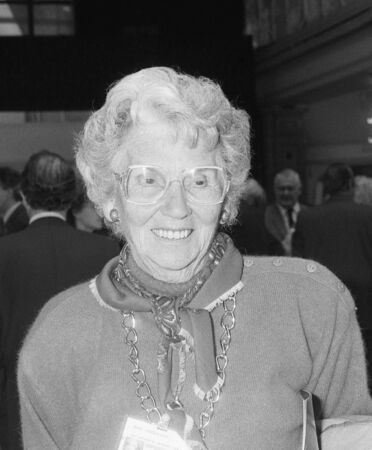 pornography: Blackpool, England - October 10, 1989 - Mary Whitehouse, founder of the National Viewers & Listeners Association, visits the Conservative party conference.
