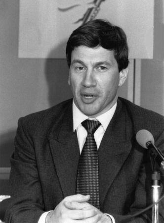 portillo: London, England - April 10, 1991 - Michael Portillo, Minister for Local Government, speaks at a press conference. Editorial