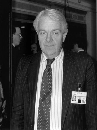conservative: Blackpool, England - October 10, 1989 - Nicholas Scott, Conservative politician, visits the party conference. Editorial