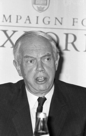 counsellor: London, England - May 14, 1990 - Sir Patrick Neill, Queens Counsellor and Chairman of the Campaign For Oxford, holds a press conference.