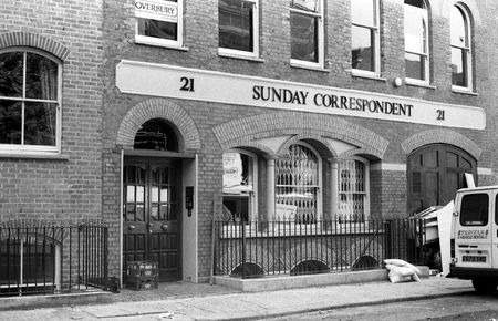 ceased: London, England - August 5, 1989 - Headquarters of British quality  newspaper the Sunday Correspondent, which closed in November 1990.