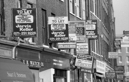 London, England - January 5, 1992 - Commercial property to let signs outside offices and shops, Old Street.