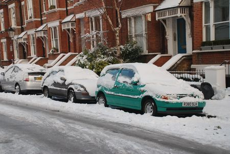 London, England - January 7, 2010 - Snow covers the  streets in Hampstead during Britains worst winter for many years.
