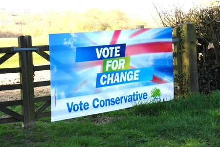 Rolvenden, England - April 23, 2010 - A Conservative Party election poster on a farm gate at Rolvenden in Kent.