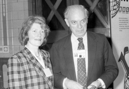 Blackpool, England - October 10, 1989 -  John Biffen, Conservative Member of Parliament for Shropshire North, visits the party conference with his wife Sarah. Editorial