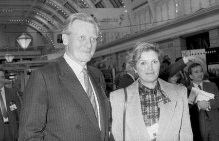 conservative: Blackpool, England - October 10, 1989 - Michael Heseltine, Conservative party Member of Parliament for Henley, visits the party conference with his wife Anne. Editorial