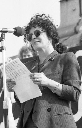 London, England - April 13, 1991 - Anita Roddick, founder of The Body Shop chain of cosmetic shops, speaks at a rally in support of Beirut hostage John McCarthy. Stock Photo - 7278078