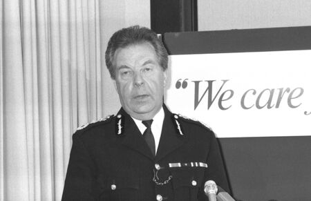 commissioner: London, England - May 23, 1990 - Sir Peter Imbert, Commissioner of the Metropolitan Police Force, holds a press conference at New Scotland Yard.