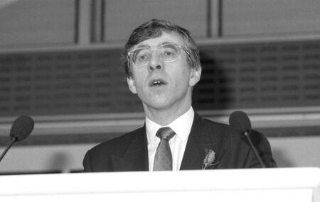 spokesman: London, England - December 4, 1990 - Jack Straw, Labour party Education spokesman, speaks at a press conference. Editorial