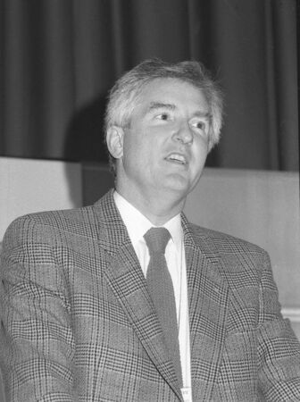 conservative: London, England - December 1, 1990 - John Maples, Conservative party Member of Parliament for Lewisham West, speaks at a conference. He later became Deputy Chairman of the party.