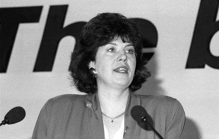 christine: London, England - December 6, 1990 - Christine Crawley, Labour party Member of the European Parliament for Birmingham East, speaks at a press conference.