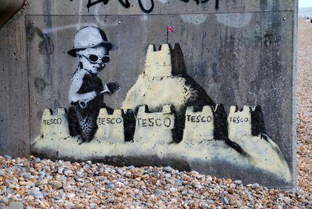 Inghilterra St Leonards-Sea - 28 agosto 2010 - A nuova murale da culto inglese street artist  Editoriali