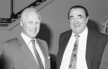 maxwell: London, England - April 17, 1991 - Winston Churchill (left) , Conservative party Member of Parliament for Davyhulme, poses with Robert Maxwell,  Czech born media tycoon, at a press conference. Maxwell died in November 1991.