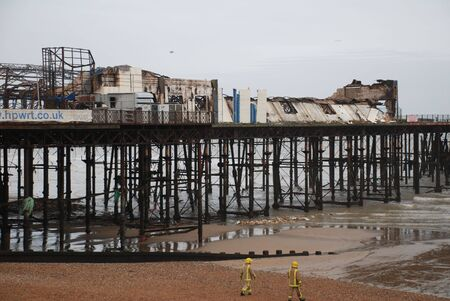 Hastings, England - October 5, 2010 - The Victorian pier after being destroyed by fire. The pier opened in 1872. Stock Photo - 7960434