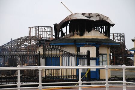 Hastings, England - October 5, 2010 - The Victorian pier after being destroyed by fire. The pier opened in 1872.