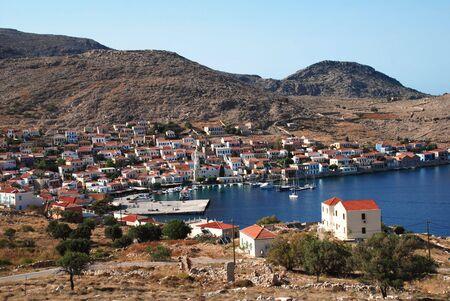 emborio: Emborio, Greece -June 5, 2010 - Looking down onto the harbour on the Greek island of Halki. Editorial