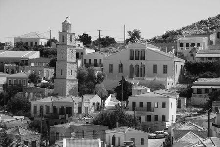 halki: Emborio, Greece - June 13, 2010 - View over the town on the Greek island of Halki. In monochrome.