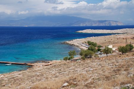 halki: Looking down to Ftenagia beach at Emborio on the Greek island of Halki.