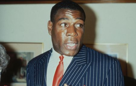 the heavyweight: London, England - May 27, 1989 - Frank Bruno, British heavyweight boxer, attends a celebrity event. In 1995 he won the WBC world heavyweight title.