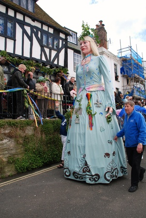 effigy: Hastings, England - May 3, 2010 - A large effigy of a woman (known as a Giant) is paraded at the annual Jack In The Green festival. The event marks the May Day public holiday in Britain. Editorial