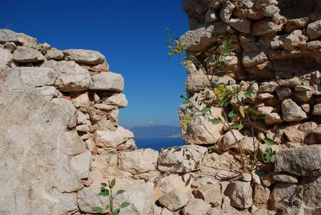 halki: The medieval, Knights of Saint John, crusader castle above Horio on the Greek island of Halki.  Stock Photo
