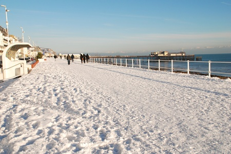 hastings: Hastings, England - December 3, 2010 - The snow covered seafront during Britains coldest Winter in 100 years.