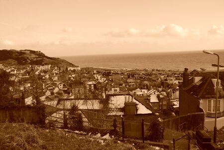 Looking down the Old Town quarter of Hastings in East Sussex, England. Rendered in sepia tone. Stock Photo - 8882368
