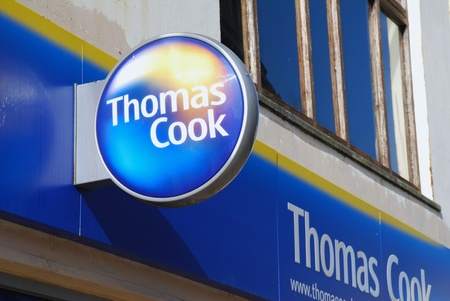 hastings: Hastings, England - March 9, 2009 - Exterior of a branch of travel agent Thomas Cook in Hastings, East Sussex. Editorial