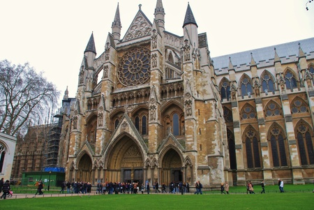 London, England - March 17, 2011 - The exterior view of Westminster Abbey where Prince William and Kate Middleton will marry in April 2011. Stock Photo - 9142004