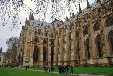 London, England - March 17, 2011 - The exterior view of Westminster Abbey where Prince William and Kate Middleton will marry in April 2011. Editorial