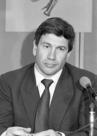 London, England - April 10, 1991 - Michael Portillo, Minister of State for Local Government, attends a press conference. Stock Photo - 9386740