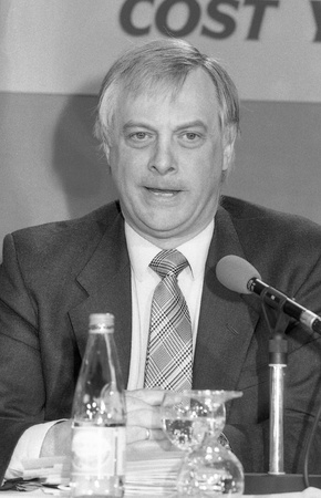 London, England - April 10, 1991 - Christopher Patten, Chairman of the Conservative party, speaks at a press conference. He later became the last Governor of Hong Kong. Stock Photo - 9411124