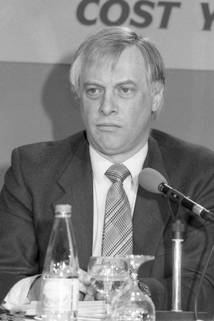 London, England - April 10, 1991 - Christopher Patten, Chairman of the Conservative party, speaks at a press conference. He later became the last Governor of Hong Kong. Stock Photo - 9411123