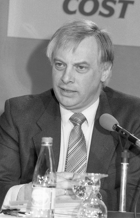 London, England - April 10, 1991 - Christopher Patten, Chairman of the Conservative party, speaks at a press conference. He later became the last Governor of Hong Kong. Stock Photo - 9411122